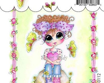 My-Besties Clear Rubber Stamp Big Eye Besties Big Head DollsButterflies And Hearts  MYB-0112  By Sherri Baldy