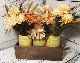3 Jar Mason Jar Holder Centerpiece