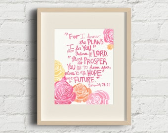 Jeremiah 29:11 For I Know The Plans Floral Watercolor Wall Art