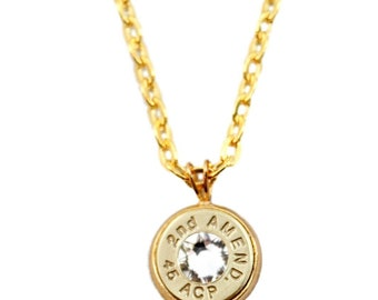 """45 ACP Bullet """"2nd Amend"""" Necklace"""