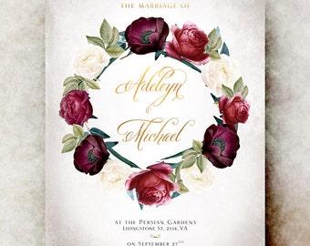 Marsala Wedding Invitation printable - wedding invitation suite, barn wedding invitation, printable wedding invitation, burgundy wedding