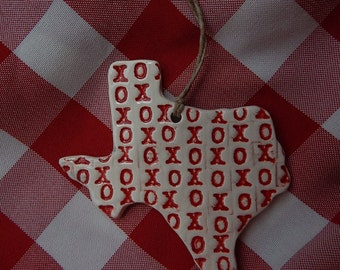 Texas Ornament, XO's, Kisses and Hugs
