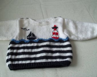 Sailor sweater 0/3 months - handmade - 0/3 months baby knit-