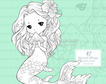 PNG Summer Sprite with Watermelon - Aurora Wings Digital Stamp - Cute Mermaid - Fantasy Line Art for Arts and Crafts by Mitzi Sato-Wiuff