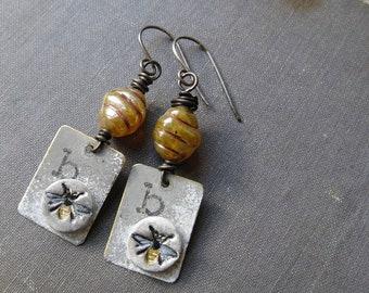 b is for bee earings, whimsical bee earrings, mixed media artsy earrings, bee hive and bee whimsical earings, hand stamped ooak earrings