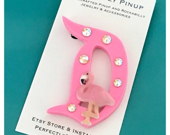 Disney Inspired Pink Flamingo D Brooch Pinup Rockabilly Pin