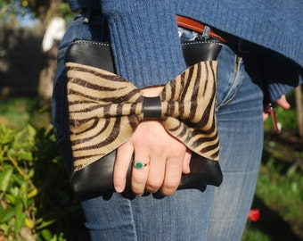 Black and Zebra leather clutch