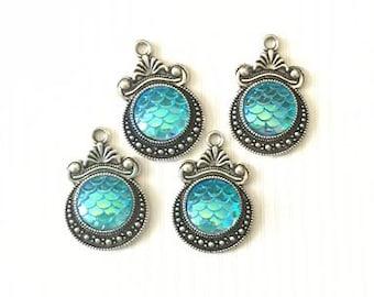 4 mermaid scale charms, mermaid pendants, silver blue mermaid