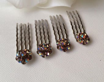 Small Hair Combs , Smoky Topaz, SOLD INDIVIDUALLY, Small Hair Pins, Prom and Wedding