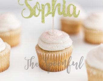 Name Cupcake Toppers, Glitter Name Cupcake Topper, Glitter Cupcake Topper, Personalized Cupcake Topper