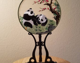 Chinese SuZhou Silk Embroidery Hand Fans with Stands