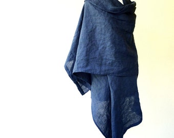 Very large linen shawl wrap scarf in navy blue or more colors