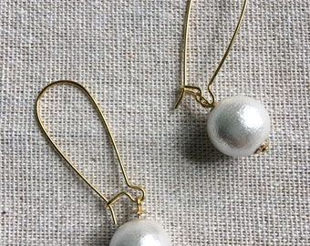 Onliest 18K gold filled long hoop Japanese cotton pearl handmade hand crafted drop dangle statement earrings