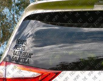 Bears. Beets. Battlestar Galactica. - Jim Halpert - Dwight Schrute - The Office - Vinyl Decal - Window Sticker - Laptop Decal - Car Decal
