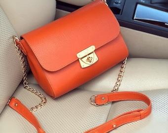 Leather Cross body Bag, Orange Leather Shoulder Bag, Women's Leather Crossbody Bag, Leather bag KF-1797