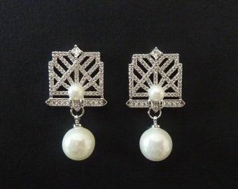 Art Deco Earrings Great Gatsby Earrings Bridal Earrings Wedding Earrings Pearl Earrings Art Nouveau Earrings Vintage Earrings Downton Abbey