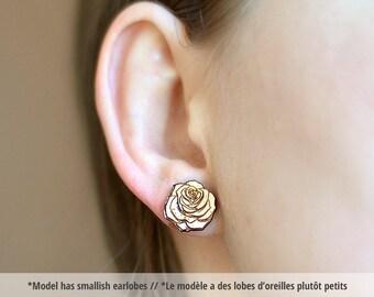 Wood Rose studs. With sterling silver or stainless steel posts. Rose earrings, flower earrings, flower jewelry, wood studs, rose jewelry