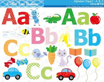 Alphabet clipart : A , B , C / Back to School clip art / INSTANT DOWNLOAD (CG168)