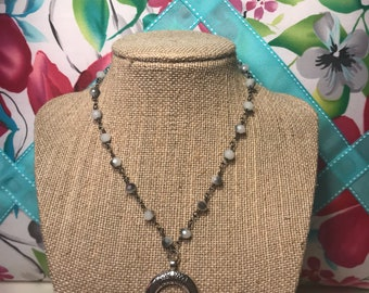 Silver Crescent Horn Choker with bigger gunmetal beaded chain