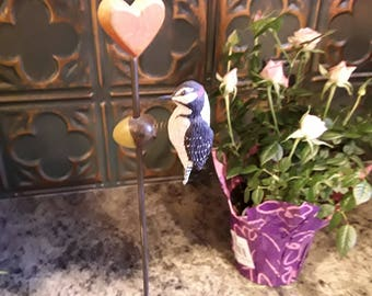 Signed Charlie Ricketts 1991 Woodpecker with Heart Trembleuse  sculpture