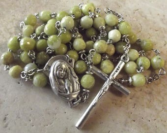 Green Jasper Stone Catholic Rosary