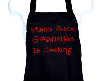 Grandpa Apron, Man Funny Cooking Full Chef, Custom Grandparent Gift, Personalize With PaPaw, Grampy, Poppy, Daddy, No Shipping Fee, AGFT 579