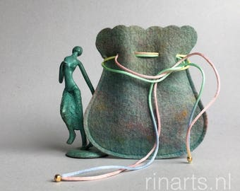 Drawstring bag / drawstring pouch / drawstring purse in green turquoise multicolour hand dyed wool felt. Gift under 10.