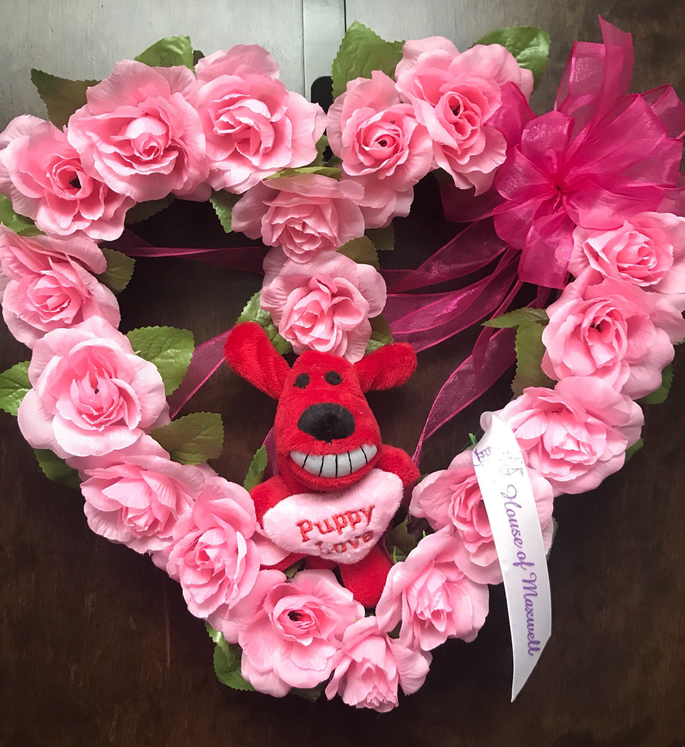 12 Puppy and Pink Roses Heart Wreath