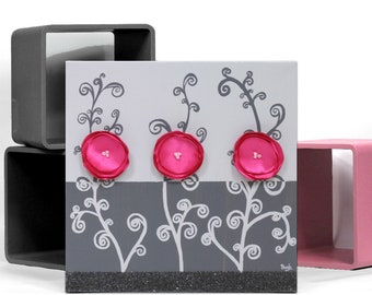 Wall Art Canvas Art, Pink and Gray 3D Flower Painting, Small Mixed Media Art - 10x10