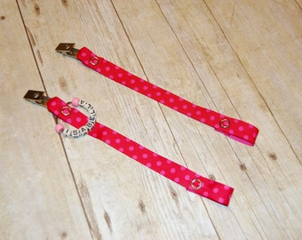Pacifier Clip, Red with Pink Dots, Personalization Available, Ready to Ship, Free USA Shipping