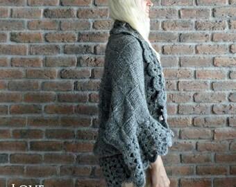 grey cardigan hand knit cardigan sweater crochet cardigan plus size cardigan loose blanket cardigan handmade cardigan oversized cardigan