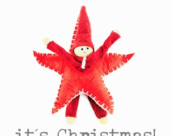Elf in a star Christmas Cards - pack of six