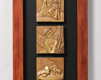 Faeries of the Wood. Limited edition, signed, numbered, and framed triptych reliefs