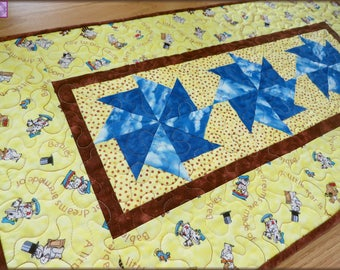 Quilted Table Runner, Nursery Quilt, Baby, Table Decor, Dresser 403