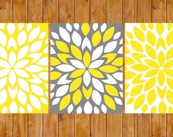 Grey Yellow Flower Bursts Floral Wall Art Baby Decor Bedroom Bathroom  3 - 8x10 High Resolution JPG Files Printable Instant Download (199)