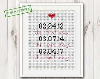 Wedding Cross Stitch Pattern Personalized wedding sampler