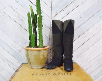 80s vtg YSL boots | Yves Saint Laurent boots | 1980s vintage YSL suede boots Color block tall Leather boots Designer boots