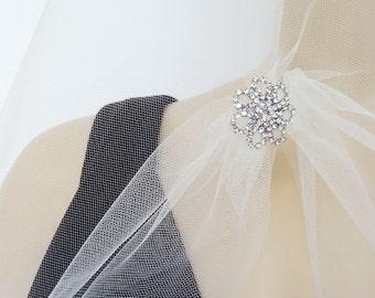 Wedding Veil, Drop Veil with Rhinestone Ornament, Circular Bridal Veil, Shoulder Length Veil