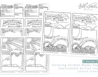 Bulliten Insert Kids Sermon Notes Printable Church Edition