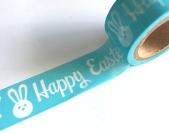 HAPPY EASTER Washi Tape Roll Easter BUNNY Spring Holiday Decoartions White Bunnies on Bright Blue planner crafts planners cards card craft