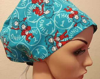 Women's Surgical Cap, Scrub Hat, Chemo Cap, Thing 1 and Thing 2