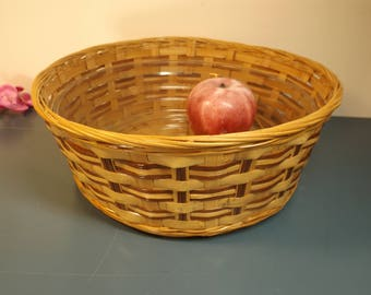"""Lined wicker basket . Storage Container.Decor.Charm.Home decor.Organizer.Kid's room and not only. Kitchen organizer.10 3/4"""" diameter , 4""""H"""