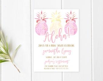 Bridal Shower Invitation, Tropical Bridal Shower Invitation, AlohaBridal Shower, Summer Bridal Shower Invites, Summer Bridal Shower [498]