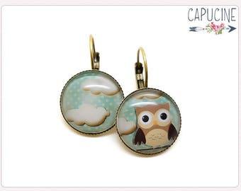 Owls earrings - Owl Hoop earrings - Earrings with glass dome owl