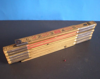 Vintage Mid Century Lufin X46 Retrackable Wood Yard Stick - Red End