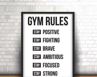 Gym Rules | Printable Art | Digital Download 11 x 14 art