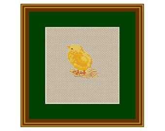 Little Chick Counted Cross Stitch Pattern. Chicken Baby PDF Instant Download. Pattern. Kitchen Decor Pattern.