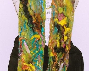Felted Fiber Art Scarf- Forest Dreams