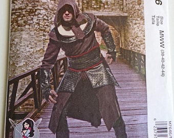Warrior Ninja, Paper Pattern, Assassin's Creed, Men's Tunic, Capelet, Hood, Costume Cosplay, Rogue Warrior, Steampunk Gothic Sewing Pattern