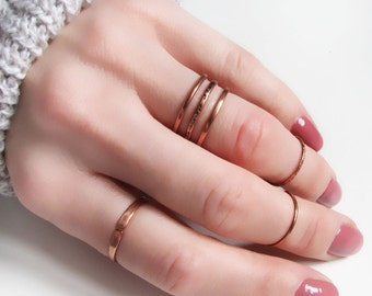 Thin copper rings set of 6 Knuckle rings Minimalist rings Midi rings Copper boho rings Simple Stacking rings Pinky ring Womens gift For her